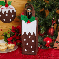 Christmas Pudding Felt Bottle Gift Bag
